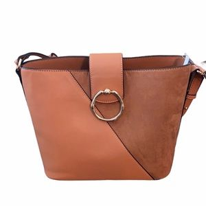 Topshop Bucket Bag with Faux Suede Panel, Tan